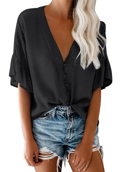 Front view of model wearing black V-neckline ruffle half sleeves button-up loose top