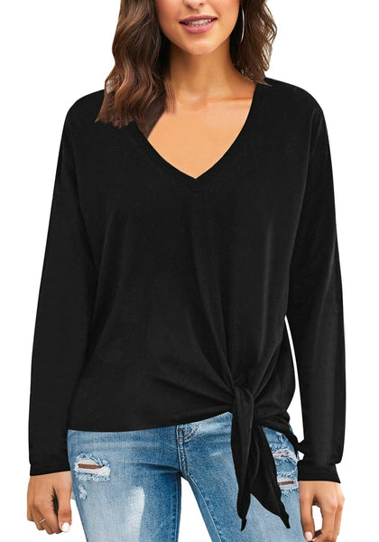 Front view of model wearing black V-neckline side-tie knot long sleeves loose top