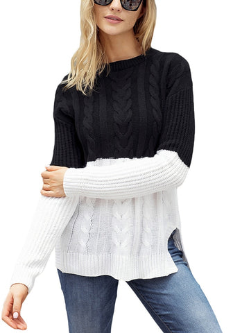 Black and White Color Block Side-Slit Cable Knit  Sweater