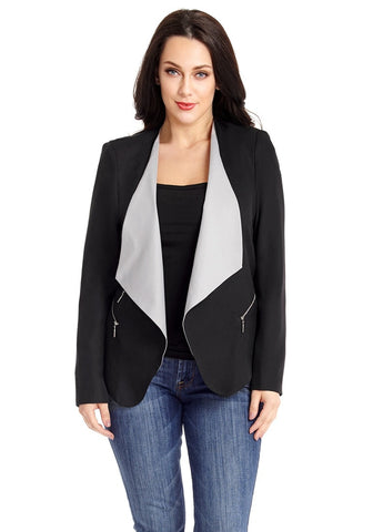 Black Asymmetric Side-Zip Contrast Draped Blazer