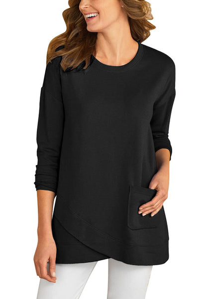 Front view of model wearing black asymmetrical tulip hem pullover tunic top
