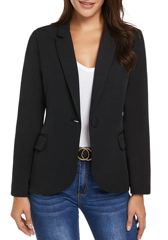 Black Back-Slit Notched Lapel Blazer