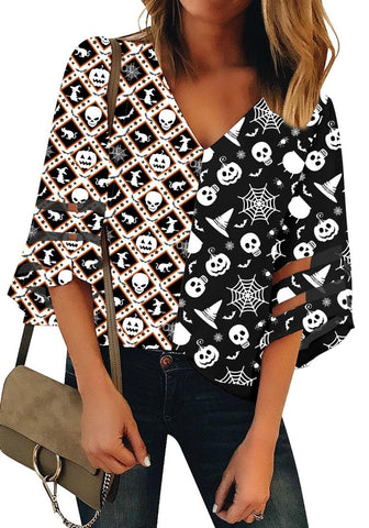 Black Bell Mesh Panel Sleeves Halloween Witch Skull Print Loose Top