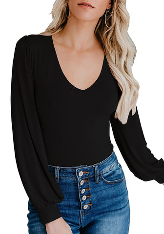 Black Bishop Sleeves Rounded V-Neckline Bodysuit