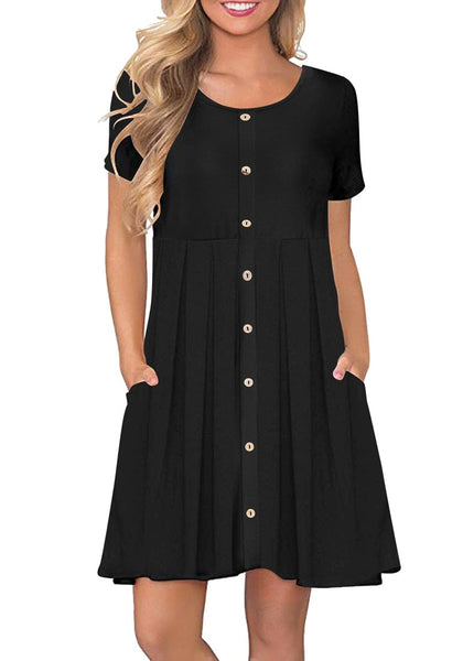 Front view of model wearing black button-down short sleeves flowy swing dress