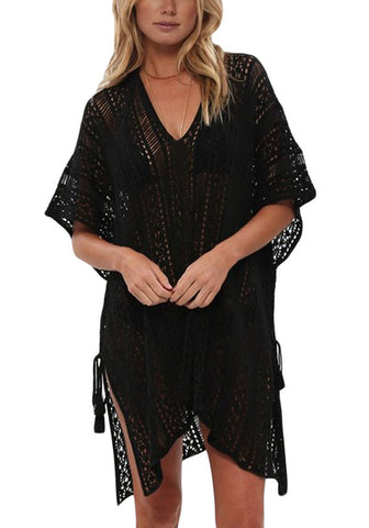 Black Crochet Lace-Up Side Beach Cover-Up
