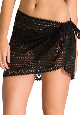 Black Crochet Lace Sarong Wrap Beach Cover-Up