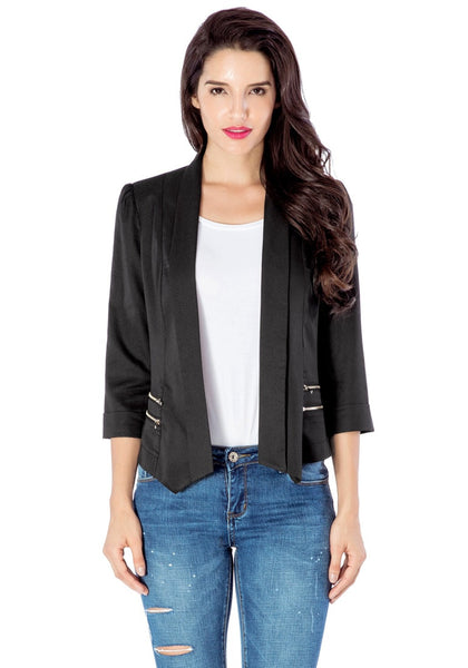 Black Crop Sleeves Lapel Blazer