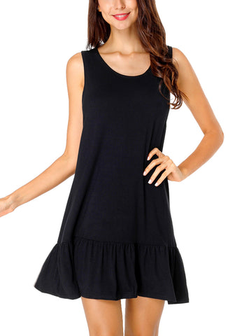 Black Cross-Back Sleeveless Ruffled Mini Shift Dress