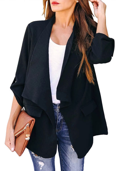 Front view of model wearing black cuffed sleeves open-front draped plain blazer