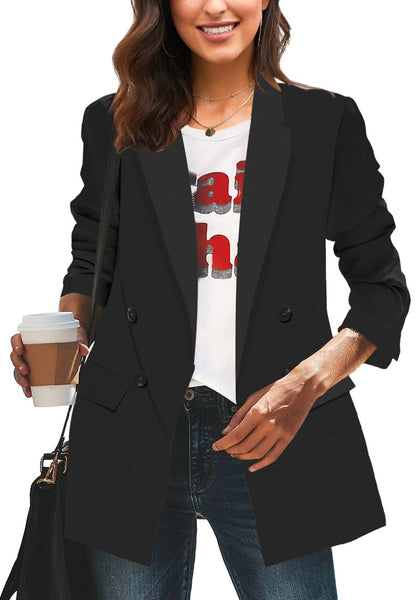 Front view of model wearing black double-breasted flap pockets plain lapel blazer