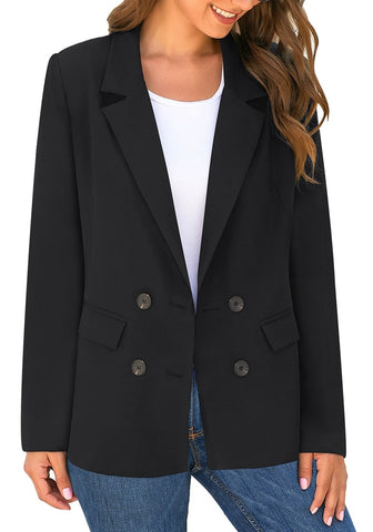 Black Double-Breasted Flap Pockets Plain Notch Lapel Blazer