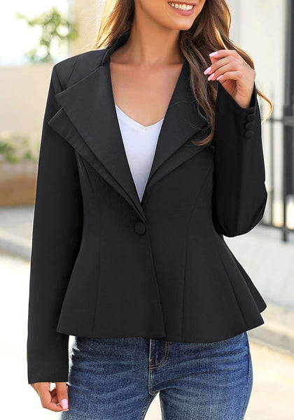 Front view of model wearing black double notch lapel peplum waist blazer