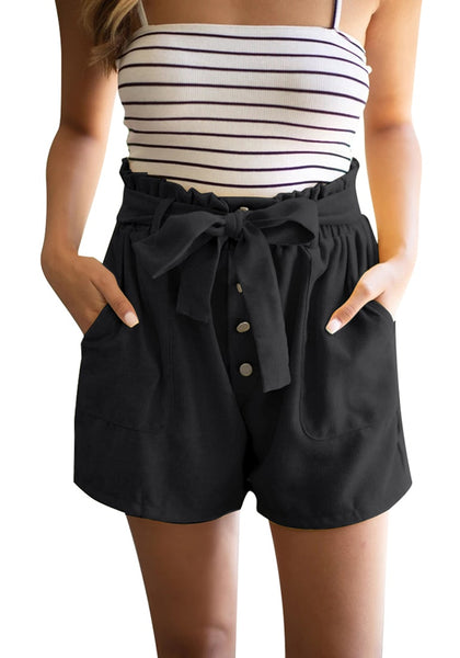 Front view of model wearing black elastic-waist buttons tie-front shorts
