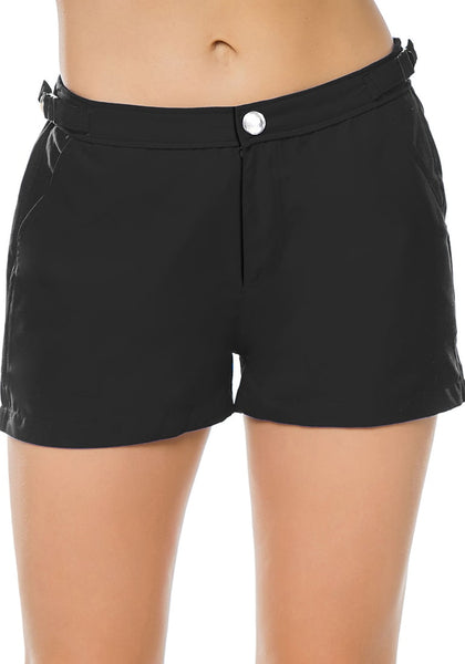 Front view of model wearing black elastic waist buckle sides swim board shorts