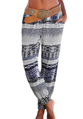Black Ethnic-Print Straight Cut Smocked Pants