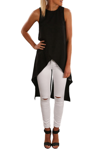 Front view of model wearing black faux wrap asymmetrical sleeveless blouse