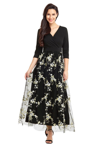 Black Floral-Embroidered Mesh Maxi Dress