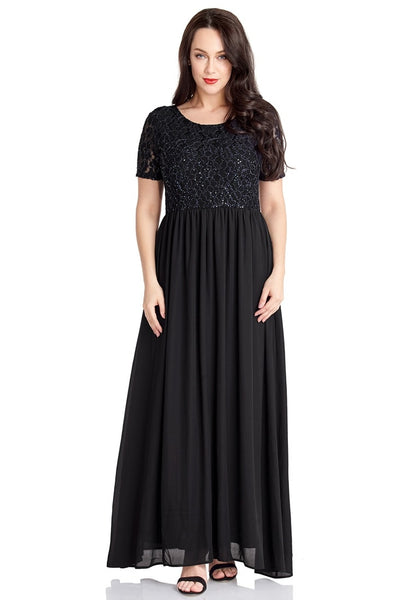 Front view of model wearing black floral hollow lace sequin-embellished maxi dress
