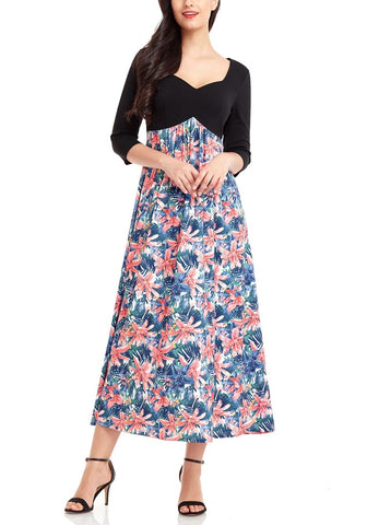 Black Floral Print-Bottom Sweetheart Neckline Long Dress