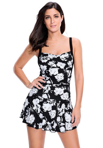 Black Ruched Pleated Floral Swim Dress