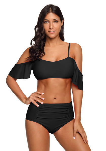 Front view of model wearing black flounce sleeves cold-shoulder ruched bikini set