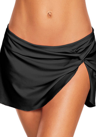 Black Front-Twist Slit Swim Skirt
