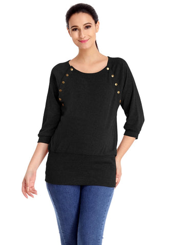 Black Front Buttons Nursing Maternity Top