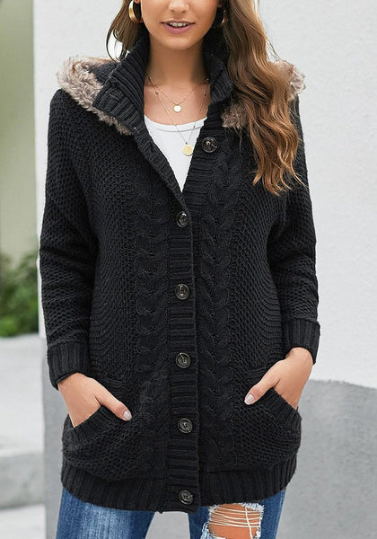 Black Fur Hooded Collar Button-Up Cable Knit Cardigan