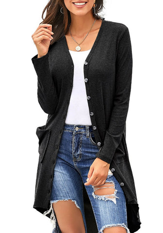 Black High-Low Button-Up Long Knit Cardigan