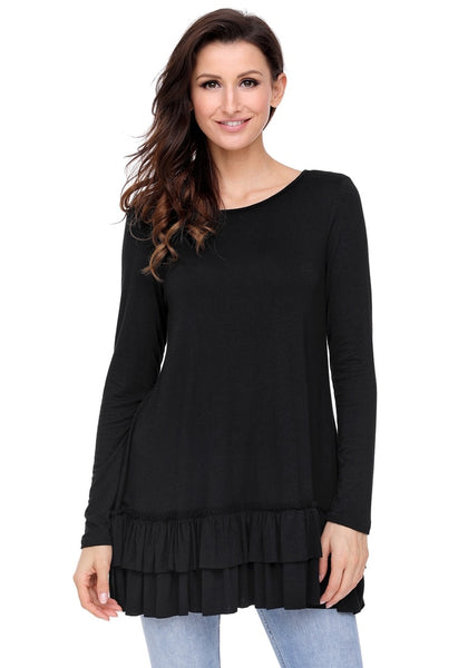 Black Layered Ruffle-Hem Long Sleeves Tunic