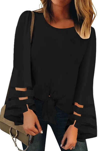 Front view of model wearing black long bell mesh panel sleeves tie-front loose top