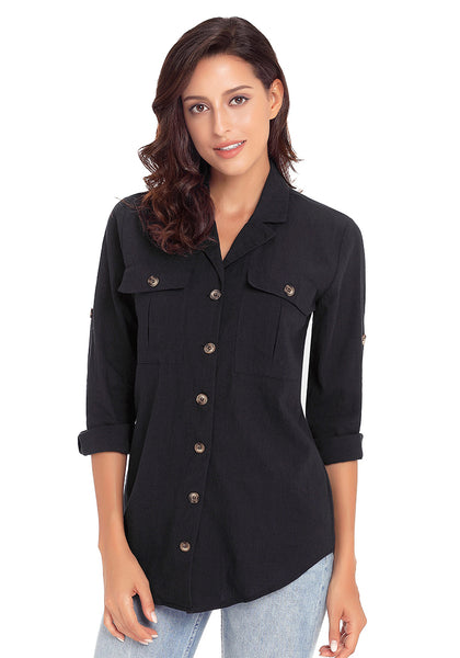 Front view of model wearing black long cuffed sleeves lapel button-up blouse