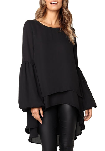 Black Long Lantern Sleeves Layered High-Low Blouse