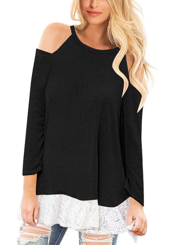 Black Long Sleeves Floral Lace Hem Cold-Shoulder Top