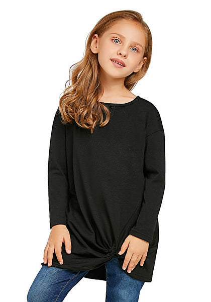 Front view of model wearing black long sleeves front twist knot girl top