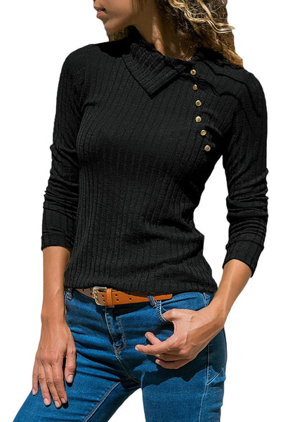 Black Long Sleeves Split Cowl Collar Ribbed Knit Top