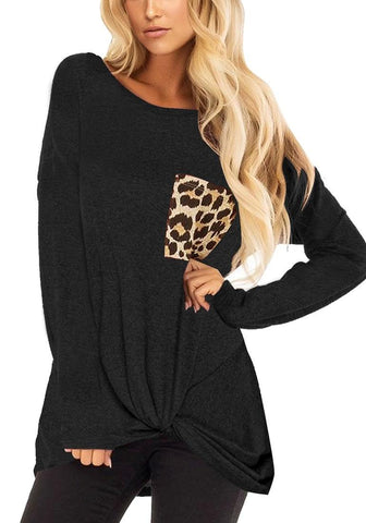Black Long Sleeves Twist-Knot Leopard Pocket Top