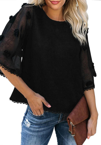 Front view of model wearing black mesh floral bell sleeves lace trim loose top