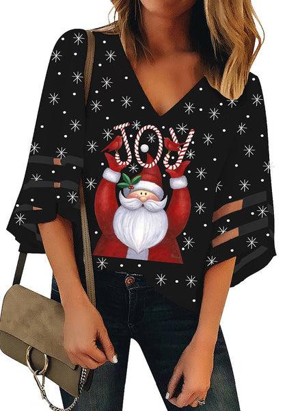 Front view of model wearing black mesh panel sleeves V-neckline Christmas-print loose top