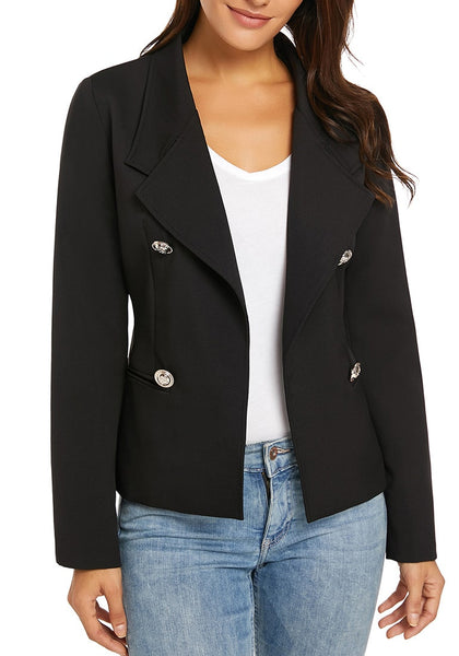 Black Notch Lapel Buttons Open-Front Blazer