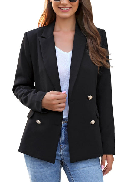 Front view of model wearing black notch lapel double-breasted blazer