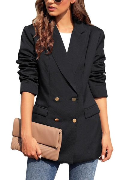 Black Notch Lapel Double-Breasted Side Pockets Blazer
