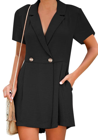 Black Notch Lapel Double Breasted Wrap Romper