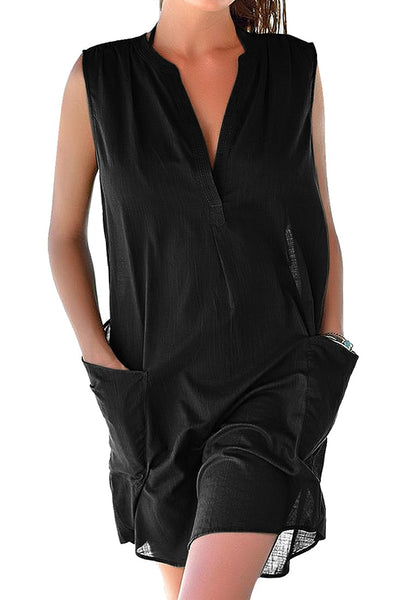 Front view of model wearing black notched V-neck sleeveless beach cover-up