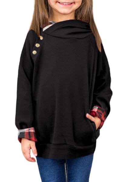 Black Buttons Double Hooded Pullover Girl Sweatshirt