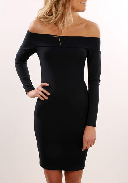Front view of model wearing black off-shoulder bodycon dress