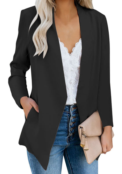 Front view of model wearing black open-front side pockets blazer