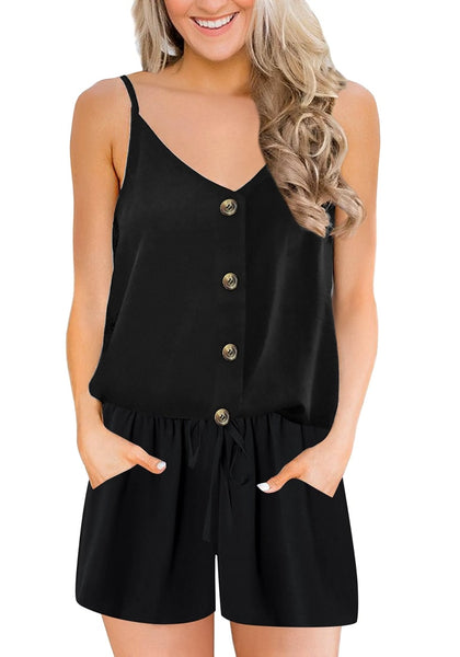 Front view of model wearing black racerback spaghetti strap button-up romper