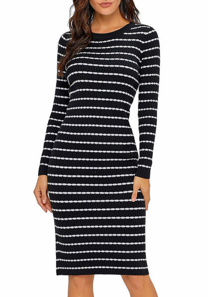 Black Ribbed Knit Striped Bodycon Sweater Dress